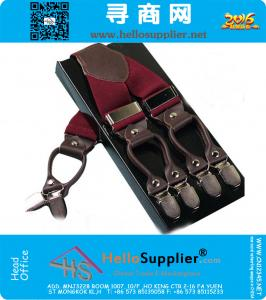 Leather alloy 6 clips vintage casual suspenders GIft box adult braces fashion Tirantes 3.5 X 110cm